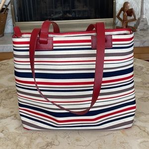 Danier Red Leather & Striped Canvas Tote Bag